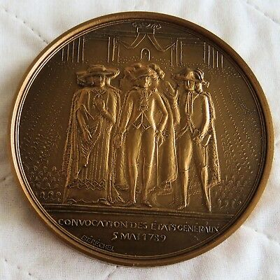 BICENTENNIAL OF THE FRENCH REVOLUTION 76mm BRONZE MEDAL -meeting of the generals