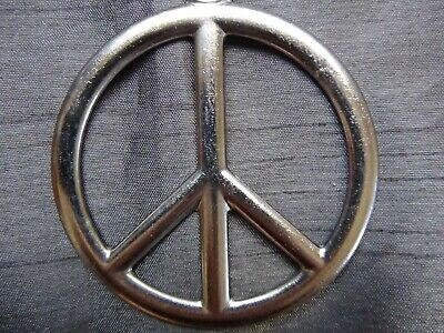 Large PEACE SIGN Silver Pewter Pendant Necklace Leather CORD