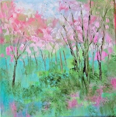 original oil painting - California cherry trees- 10 x 10direct from Artist