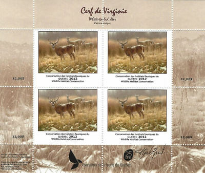2012 Canada Quebec  Wildlife Habitat Conservation  -DQ69s signed     Mint NH