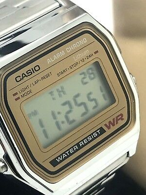 Casio Silver Tone Stainless Steel 33mm Digital Quartz Classic Men's Watch A158WE