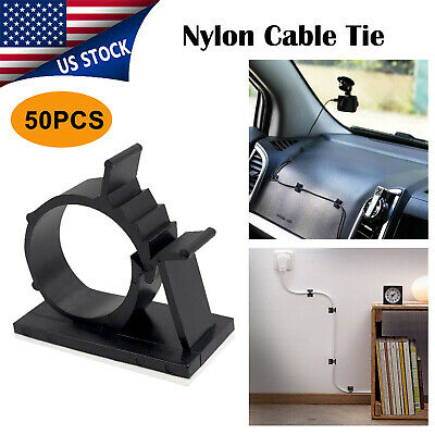50 x Cable Clips Adhesive Cord Management Organizer Wire Holders Clamp Black New