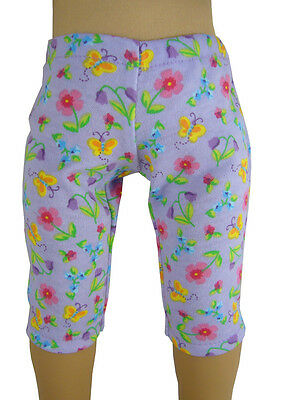 "Made in USA Lavender Floral Capri Leggings for 18"" American Girl Doll Clothes"