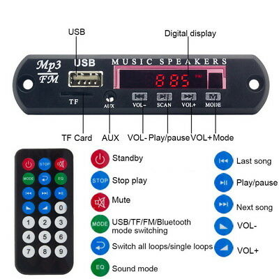 Remote Car Bluetooth Wireless MP3 Decoder Board Audio Module USB SD TF FM Radio