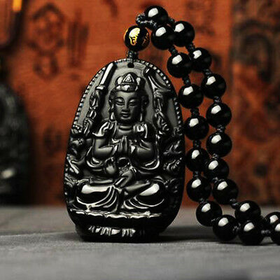 Natural Obsidian Buddha Lucky Amulet Pendant Hand Carved Chain Beads