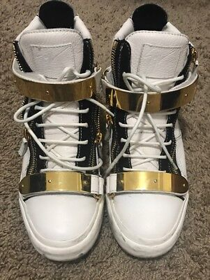 4c77480b1a6af Giuseppe Zanotti High Top Mens Shoes White Gold Buckles Sneakers Size 42  USA 9