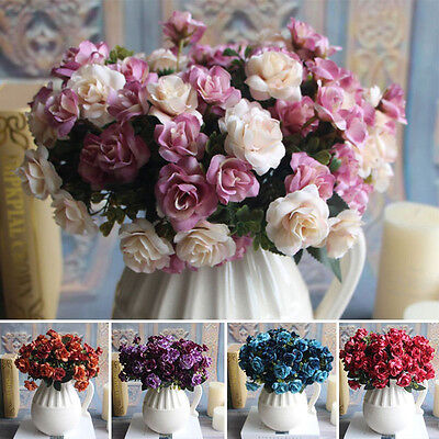 Chic 15 Heads Artifical Silk Rose Flower Bunch Home Wedding Party Office Adorn