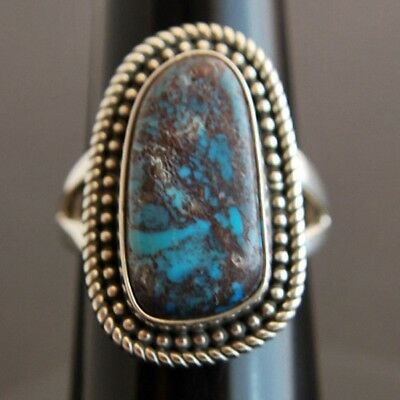 Natural RARE Collectible Arizona Bisbee Turquoise Sterling Silver RING Size 6.25