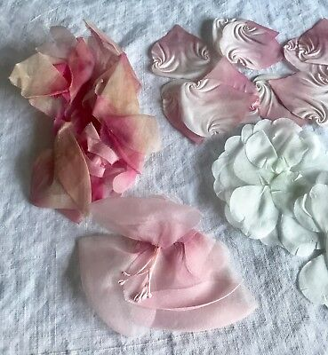 Vintage flowers millinery petals leaves & flowers / pink and white / faux fabric