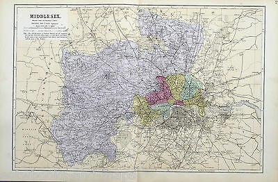 MIDDLESEX, 1883 - Original Antique County Map - BACON.