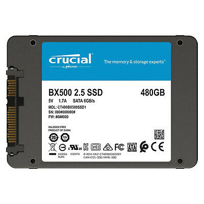 HARD DISK SSD INTERNO CRUCIAL BX500 120GB 240GB 480GB SOLID STATE DRIVER 6.0Gb/s