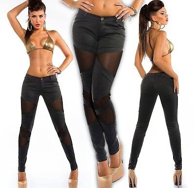 Sexy Koucla Treggings avec Filet Pantalon Taille Basse Extensible Legging 67abcffce1c