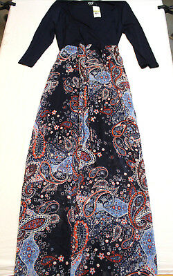 Eci New York Maxi Summer Dress Boho Women S Large 3 4 Sleeves Navy