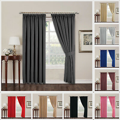 Thermal Blackout Curtains Pencil Pleat Pair of Ready Made Curtains with Tiebacks