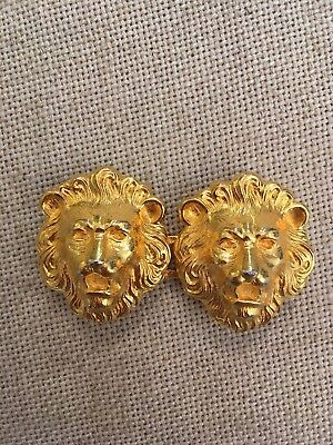 Vintage DOTTY SMITH Signed LION Head Door Knocker Heads Double Cat Belt Buckle