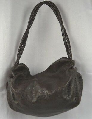 Desmo Italian Slouch Bag with Braided Handles Brown Leather Large Shoulder  Italy 6f73c215ffc89