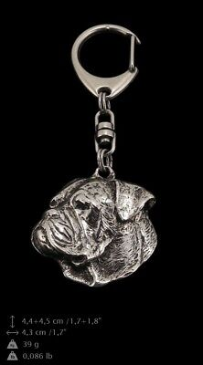American Bulldog Keyring Silver Plated, Solid Keychain Key Ring with Dog USA 105