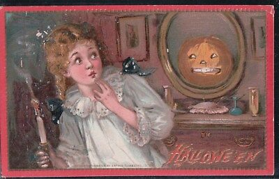 2 Bit Postcard-B-70 Tuck Halloween #174 Little Girl Scared by JOL in Mirror
