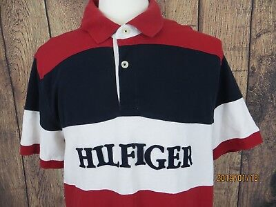 7bacebad Tommy Hilfiger Mens Short Sleeve Polo Shirt Size XL Script Spellout Logo VTG