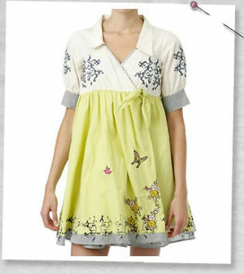 Odd Molly Cotton Wrap Side Tied Empire Line Embroidered Dress 912-Makeout-Size 4