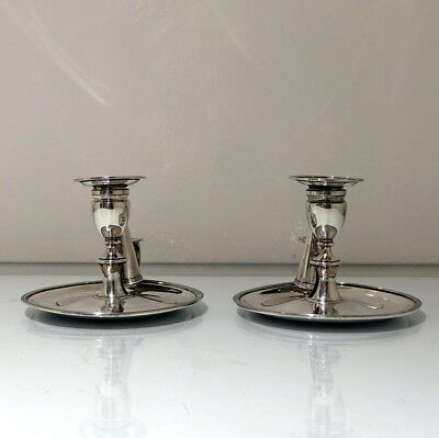 Early 19th Century Antique George III Sterling Silver Pair Chambersticks Lon1806