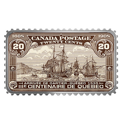 2018 Canada Historical Stamp Arrival Of Cartier 1535 99.99% Pure Silver  Coin