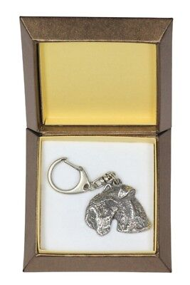 Lakeland Terrier Keychain in a Box, Silver Plated Key Ring USA 2813