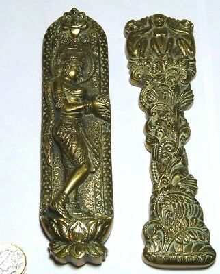 Pair Of Vintage/antique Indian Brass Door Finger Plates 3 Wise Monkey Girl Fruit