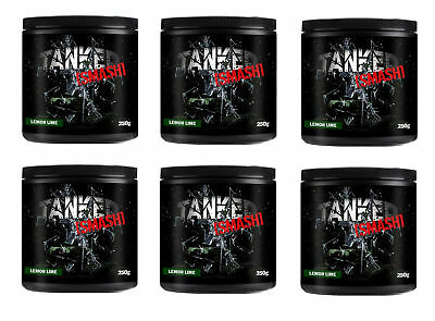 Tanked Smash Pre Workout 50 Servs Nitric Oxide Muscle Pump x 6 Tubs Fruit Punch