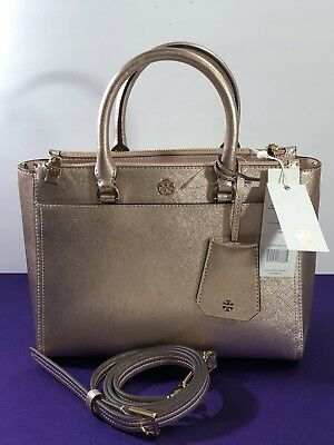 b5141ca5ef7 Tory Burch Leather Robinson Small Metallic Double Zip Tote Light Rose MSRP   398