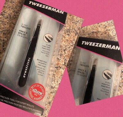 Tweezerman Full Size Slant Tip Tweezers Stainless Steel in Black