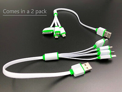 2 pack 4 in 1 Multi USB Charger Charging Cable For Cell Phone Power bank 12 inch