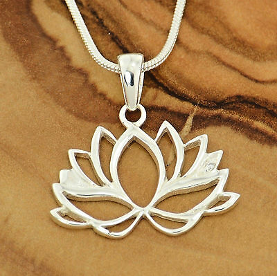 """Lotus Flower Yoga Pendant 925 Sterling Silver Zen 18"""" Chain Necklace Jewelry"""