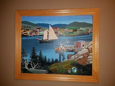 Awesome Folk Art Painting Of Nova Scotia Scene..boats,fisherman,houses Etc,frmed
