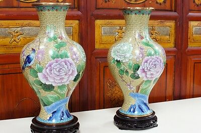 "Pair of 1970s Chinese Cloisonne Vases Bronze Hand Made Enameled 13""H"