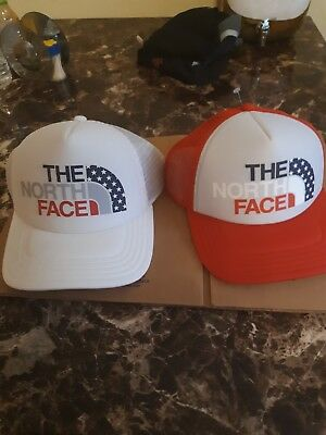 The North Face Snap Back Hat Cap Trucket Mesh White USA Stars Outdoors TNF woman