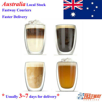 2 Pack 450ml Double Walled Coffee or Tea Glass Latte Cappuccino Drinking Glasses