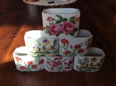 Set 6 Vintage Serviette Napkin Holders Rings West Germany Floral Funny Design