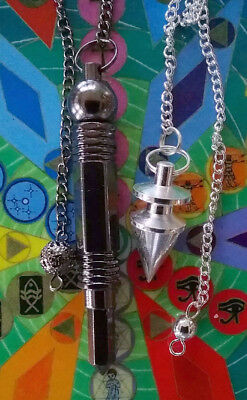 2 Solid Brass Titanium Dowsing Pendulums,  1 Witness Chamber, 1 Silver Point
