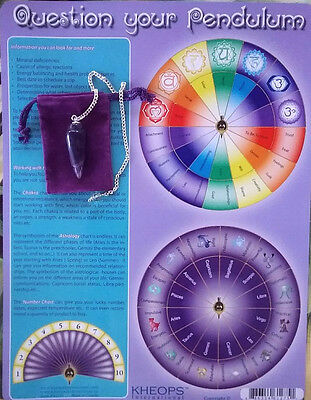 Large Dowsing Instruction Chart And Amethyst Dowsing Pendulum With Pouch