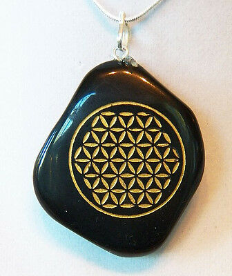 BLACK TOURMALINE CRYSTAL Reiki Pendant with Gold Flower of Life, SILVER CHAIN