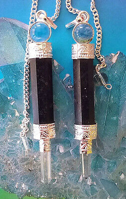 2 Black Tourmaline Dowsing Pendulum Wands With Crystal Point And 2 Pouches