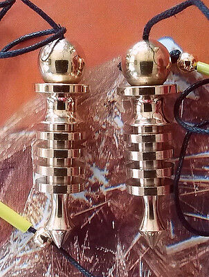 2 Egyptian Style 4 Ring Isis Gold Solid Dowsing Pendulums With 2 Pouches