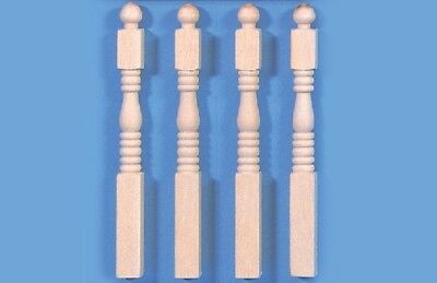 Four Newel Posts, Dolls House Miniature, DIY Stairs