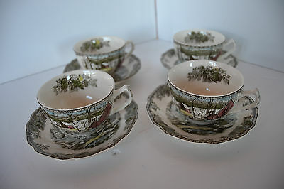Vintage Johnson Bros THE FRIENDLY VILLAGE Cup Saucer ENGLAND lot 1
