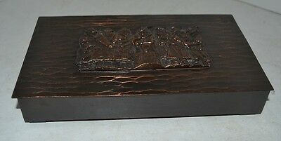Antique Rare Cigar Wood Box Hammered Copper Tobacco HUNGARIAN Lignifer Cikkszam