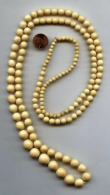 Lp18 B  VICTORIAN ANTIQUE CHINESE CARVED BOVINE BONE ROUND BEAD NECKLACE 46""