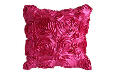1X Hot Pink Satin Rose Flower Square Pillow Cushion Pillowcase Case Cover