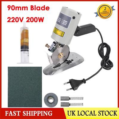 Electric Round Knife Cloth Cutter Fabric Cutting Machine 220V 200W 90mm Blade UK