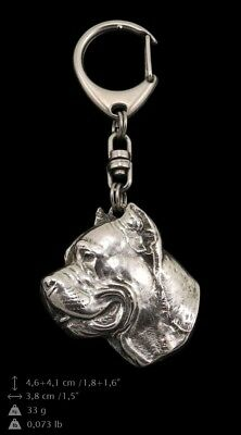 Cane Corso Keyring Silver Plated, Solid Keychain, Key Ring with Dog CA 5